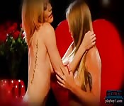 Blonde bombshells hot lesbian massage