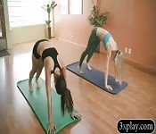 Coach and sexy women doing yoga naked