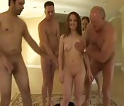 Young babe sucks four old cocks