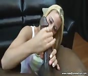 Big Black POV Blonde Blowjob