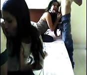Hot, horny Colombian teen amateur fourway