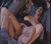Brunette whore gang banged.