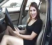Amateur in the car wants to jerk your cock