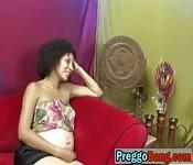 Pregnant ebony lesbians enjoy licking