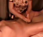 Mature bitch massaging hubby