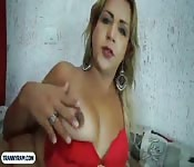 Dirty tranny from Brazil hard anal fuck
