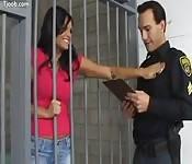This prisoner loves police badges