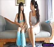 Young looking ladyboy interview and solo