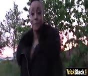 Long legged ebony girl stopped by cop