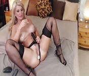 Blonde with big tits likes toys
