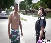 Big tits female cops riding outdoor