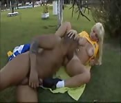 Big boob blonde soccer star likes thick black dick