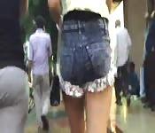 Damn fine Indian ass in short jean shorts