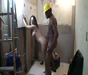 Horny girl in construction