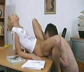 She fucks her mature teacher in his office