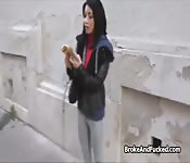 Exotic tourist gets cash for pussy