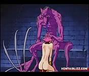 Roodharig anime monster geneukt in gevangenis