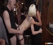 Horny girls get gang banged