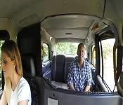 Female taxi driver fucks doggy style