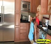 Busty stepmom and teen threesome action