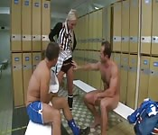 Blonde fucked by two dicks in the locker room