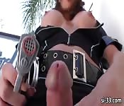 Tempting TS police Jonelle Brookes unleashes cock