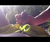 Hot outdoor rub and tug