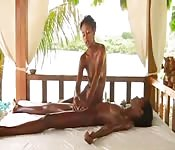 Two seriously sexy black babes massage in lesbian gem