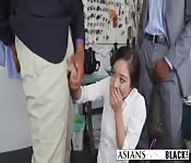 Asian slut fucked hard by two BBC's