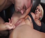 Massive fake tit old whore
