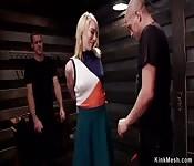Blonde slave banged by huge dick master
