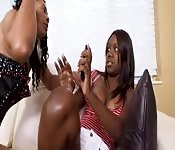 Mom teaches her daughter how to give a blowjob