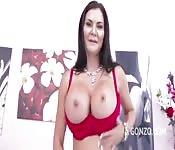 Milf brunette takes two cocks
