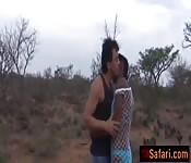 Group outdoor African teens blowjob oral