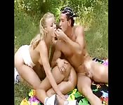 Sexual picnic with two babes