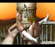 Hentai in 3D con re e regina che scopano nel castello