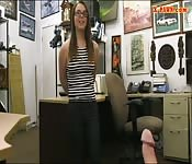 Babe with glasses banged by pawn keeper