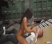 Hot sex between hot brunette and two guys