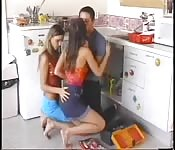 teen threesome in the kitchen