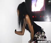 Petite Ebony beauty is master of the glory hole