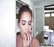 Nasty spying stepsister teen got banged