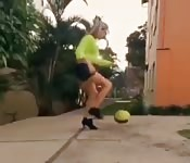 Woman playing porn soccer