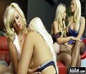 Hot blonde babes get pounded hard