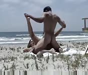 Couple caught fucking on deserted beach