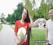 Latina football chick goes for the cock