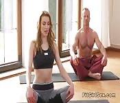 Yoga teacher fucks blonde in doggy style