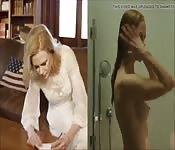 Heißer blonder Promi zeigt schönen Körper
