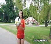 Latina soccer fan rides hard cock