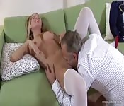 Young Woman Loves Old Cock