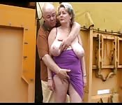 Super busty mature bitch bares it all out in public